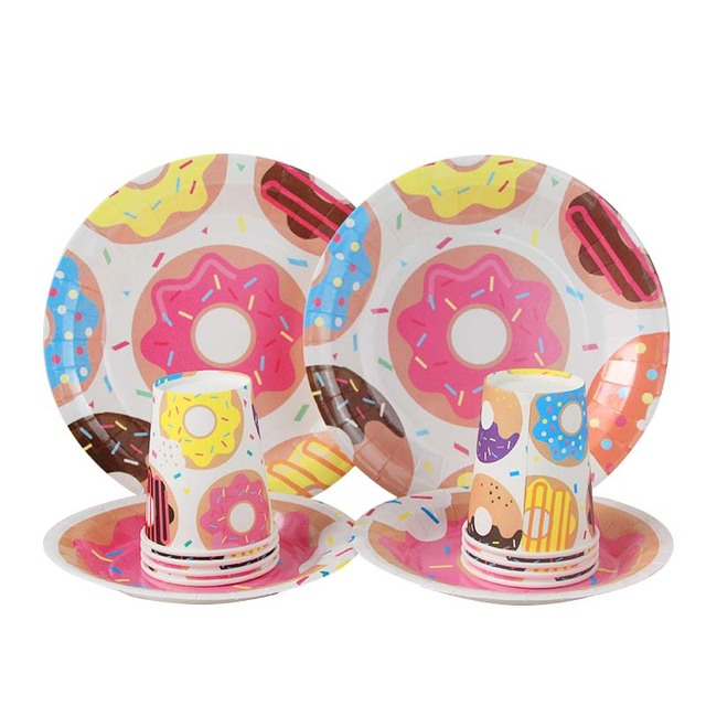 Sweet 16th Birthday Party Paper Cups Plate Donut Grow Up Theme 1st Decorations Kids Adut