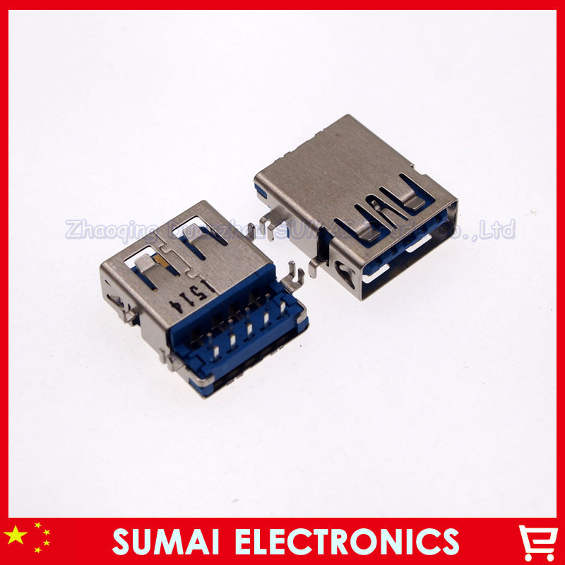 10pcs Original New 3.0 USB Jack female USB socket For lap-top SAMSUNG HP DELL SONY ACER Free shipping
