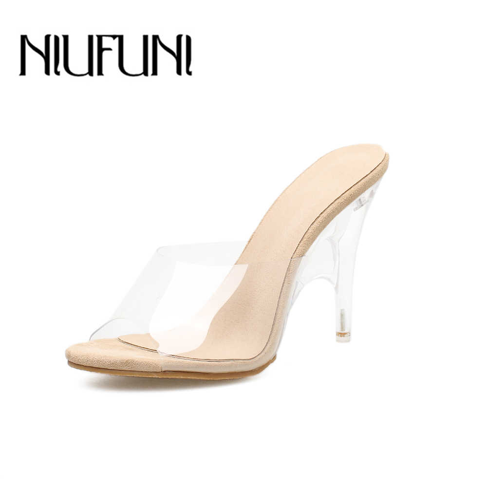 eb185b4f0132 2018 Peep toe Summer Sandals PVC Transparent Shoes Women Clear Slippers  Mules Slides shallow special high