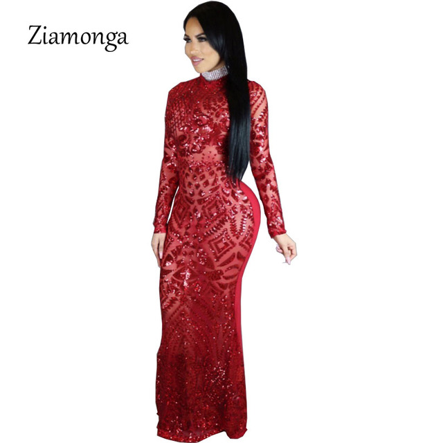 Ziamonga 2018 Sexy Turtleneck Long Sleeve Sequined Party Dresses Floor  Length Full Sleeved Bodycon Black Maxi 6f33b719d989