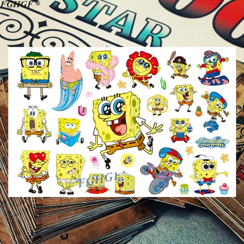 Cartoon Cute Sponge Child Temporary Body Art Flash Tattoo Sticker 17*10cm Waterproof Painless Tattoo Free Shipping
