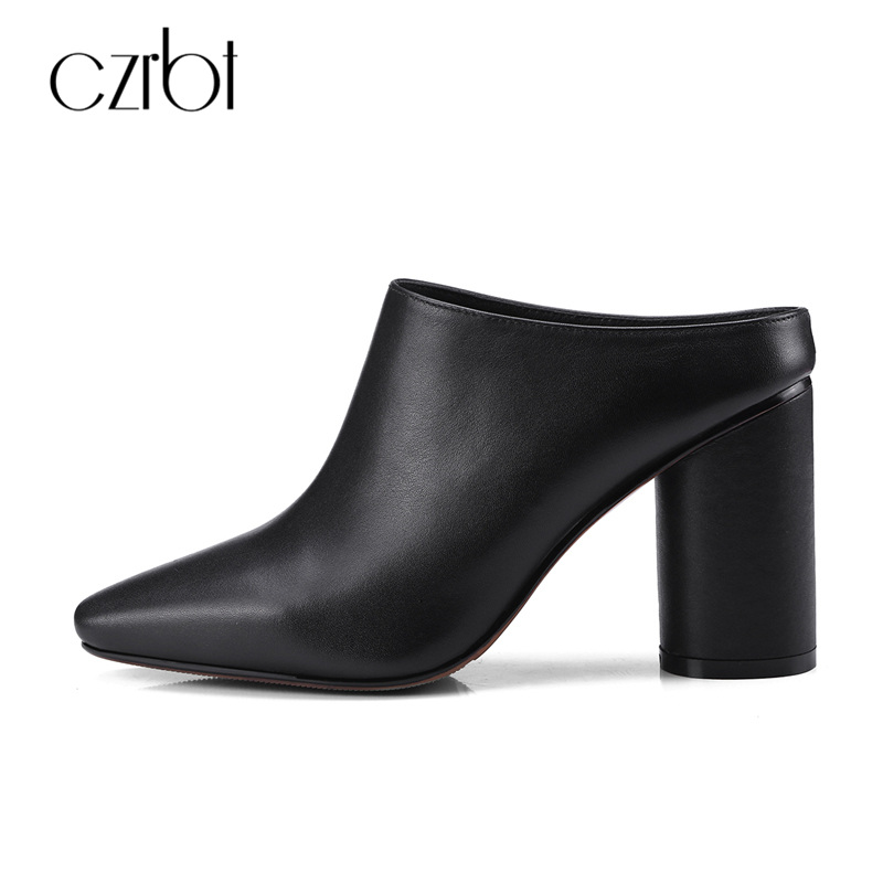 CZRBT Spring Pointed Toe Round Heel Fashion Women Mules High Heels 8.5cm Shoes Genuine Cow Leather Ladies Party Shoes Handmade genuine cow leather spring shoes wedges soft outsole womens casual platform shoes high heel round toe handmade shoes for women