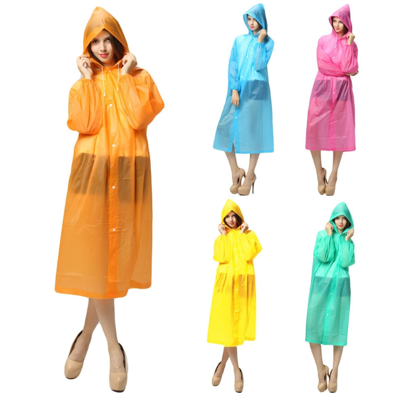 Fashion New Women Portable Reusable Raincoat Outdoor Rainwear Waterproof Hooded Rain Cover 5 Colors HIgh Quality