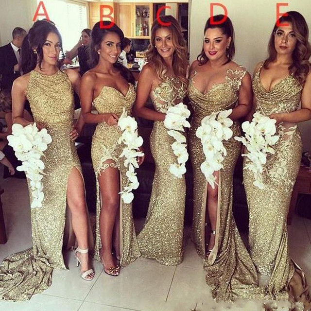 Sparkly Gold Sequin Long Bridesmaid Dresses 2017 Elegant Women Formal Wedding Party With High