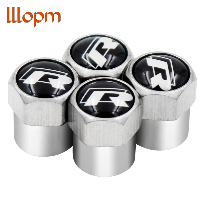 4pcs Car-styling R Logo Car Wheel Tire Valves Caps for VW Volkswagen Scirocco CC GOLF 7 Golf 6 MK6 Polo GTI Tiguan accessories waterproof rubber hk right hand steering wheel car floor mats for volkswagengolf 5 6 scirocco with gti tsi r r golf logo