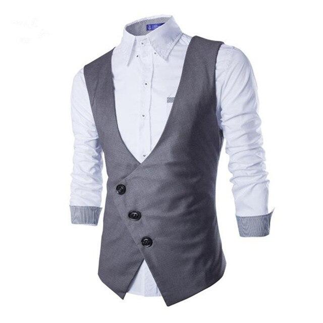10f0ed37558 Men Suits Vests Gilet New Arrival 2017 Men Vest Slim Fit Fashion Male  Waistcoat Black Gray Colors Formal Business Male Clothing