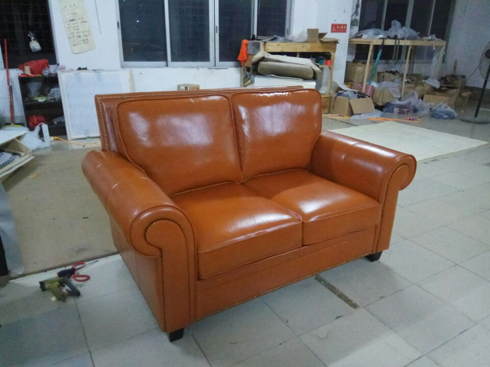 High quality cow top graded real genuine leather sofa/living room sofa furniture American style home used three seat brown couch unique post modern style top graded cow real leather ottoman stool living room home furniture round shape crystal buttons