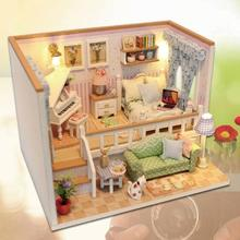 Miniature Doll House Model Building Kits Wooden Furniture Toys DIY dollhouse--because of 2018 New
