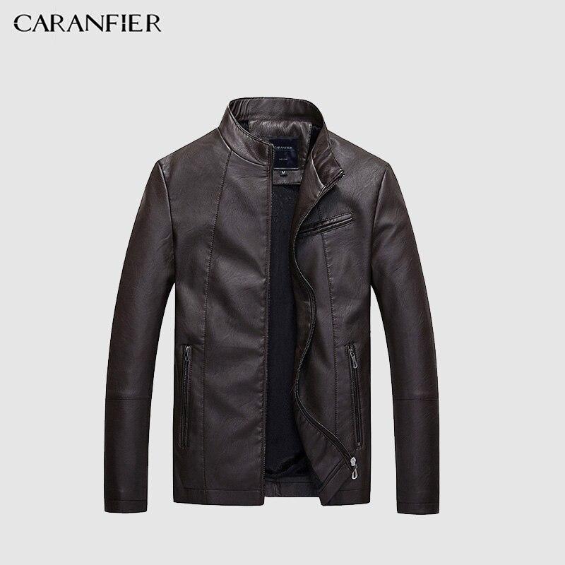 CARANFIER модные зимние кожаные куртки Для мужчин простой ПУ Повседневное байкерская куртка пилот Для мужчин s куртка кожаная куртка для отдыха ...