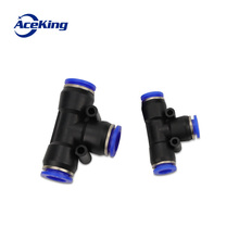 Купить с кэшбэком 3 Way T shaped Tee Pneumatic 10mm 8mm 12mm 6mm 4mm 16mm OD Hose Tube Push In Air Gas Fitting Quick Fittings Connector Adapters
