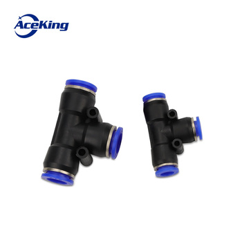 цена на PE 3Way T shaped Tee Pneumatic 10mm 8mm 12mm 6mm 4mm 16mm OD Hose Tube Push In Air Gas Fitting Quick Fittings Connector Adapters