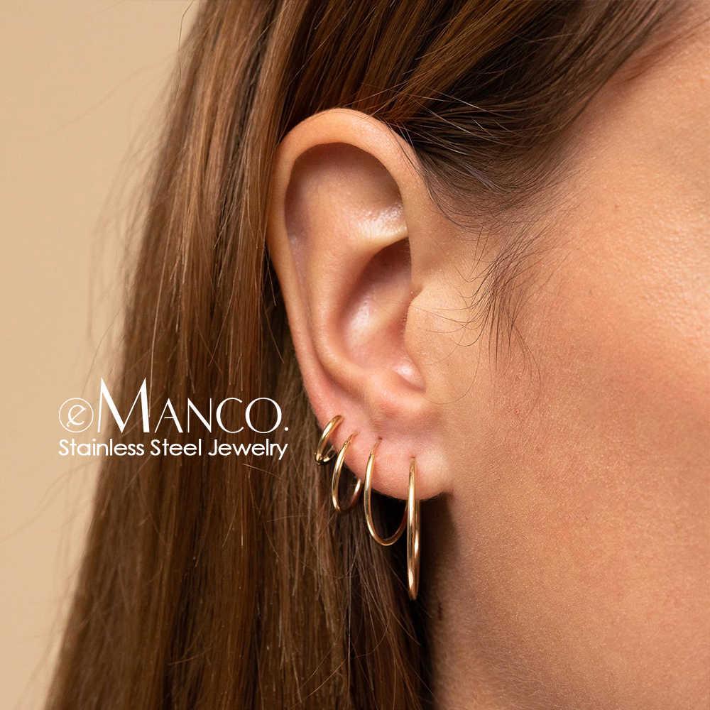 E-Manco Big Hoop ชุดต่างหูผู้หญิงต่างหูสแตนเลสสตีลสำหรับผู้หญิงขนาดใหญ่ & วงกลมขนาดเล็กหูแหวนเครื่องประดับ 4 คู่