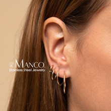 e-Manco big hoop earrings sets women stainless steel earring for women larger & small circle ear rings jewellery 4 pairs(China)