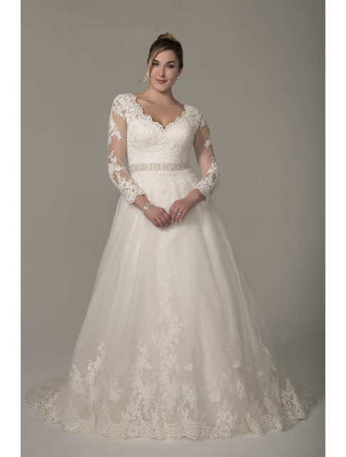 2017 Plus Size Wedding Dresses With Long Sheer Sleeve Lace Liques Ons Full Figure Gowns