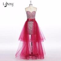 Abendkleider 2017 Luksusowy Czerwony Kryształ Wysoki Niski Prom Dresses Z Tulle Overskirt Sexy Arabia Saudyjska Balu Długie Suknie Bow A020