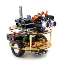 Suíte de aprendizagem robô inteligente carro tartaruga controle sem fio baseado para arduino robô kit montagem do carro frete grátis