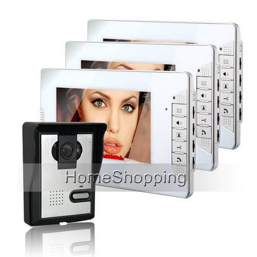 Brand New Wired 7 inch Home HD LCD Video Door Phone Intercom Door bell System 3 White Monitor + Door Camera FREE SHIPPING SALE