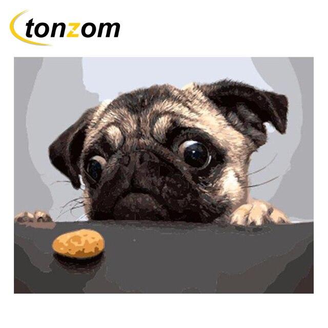 Rihe Anjing Lucu Gambar Dengan Angka Diy Hewan Lukisan Pekerjaan