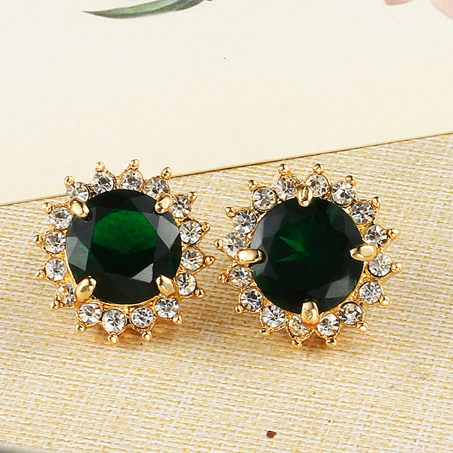 Crystal Green Round Wedding Earrings Plated Gold Korean Fashion Statement Online Ping India Studs Yy0226