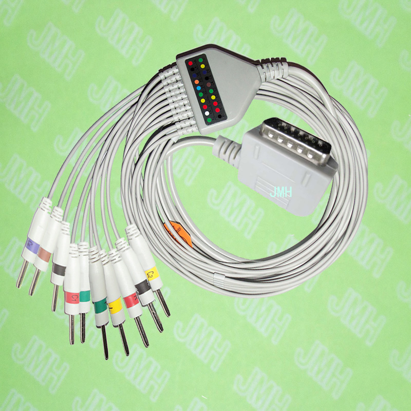 Compatible with 15 PIN Kanz PC109, 108,110,1203, 1205 EKG Machine the One-piece 10 leads cable and 3.0 pin leadwires,IEC or AHA.