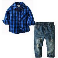 Gentleman Suit Kids Clothes Boys 2 4 6 8 Years Blue Plaid Shirt Cave Jeans 2 Pcs Plaid Fashion Children Clothing Sets Boutiqu