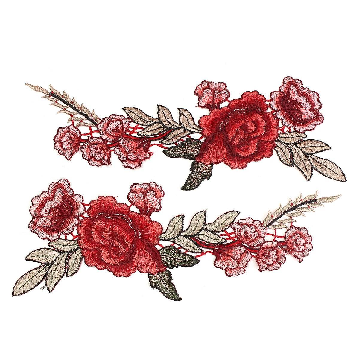 2 шт. красивая роза цветочные воротник шить патч аппликация знак вышивкой на груди платье ручной работы ремесло орнамент ткань стикеры
