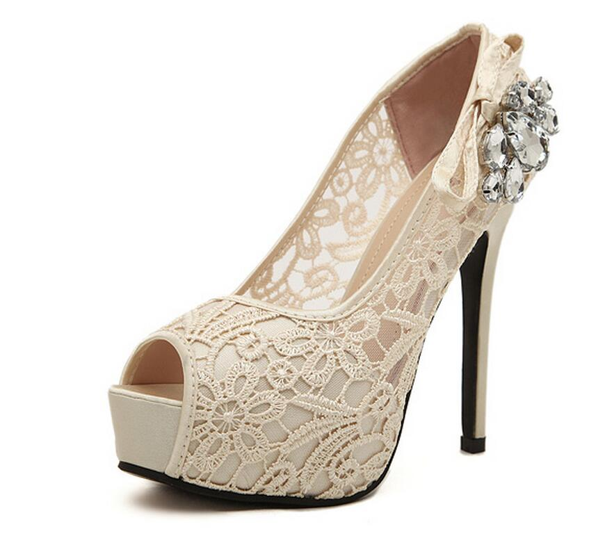 SexeMara Fashion White Lace Wedding Shoes Woman Brand High Heels Ladies  Women Pumps Bridesmaid Shoes Size 35-40 12cm 8ef8028087d7