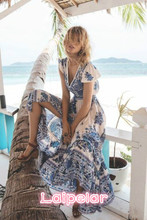 New Arrival Women Boho Floral Long Dress Evening Party Beach Dresses Summer Sundress Laipelar