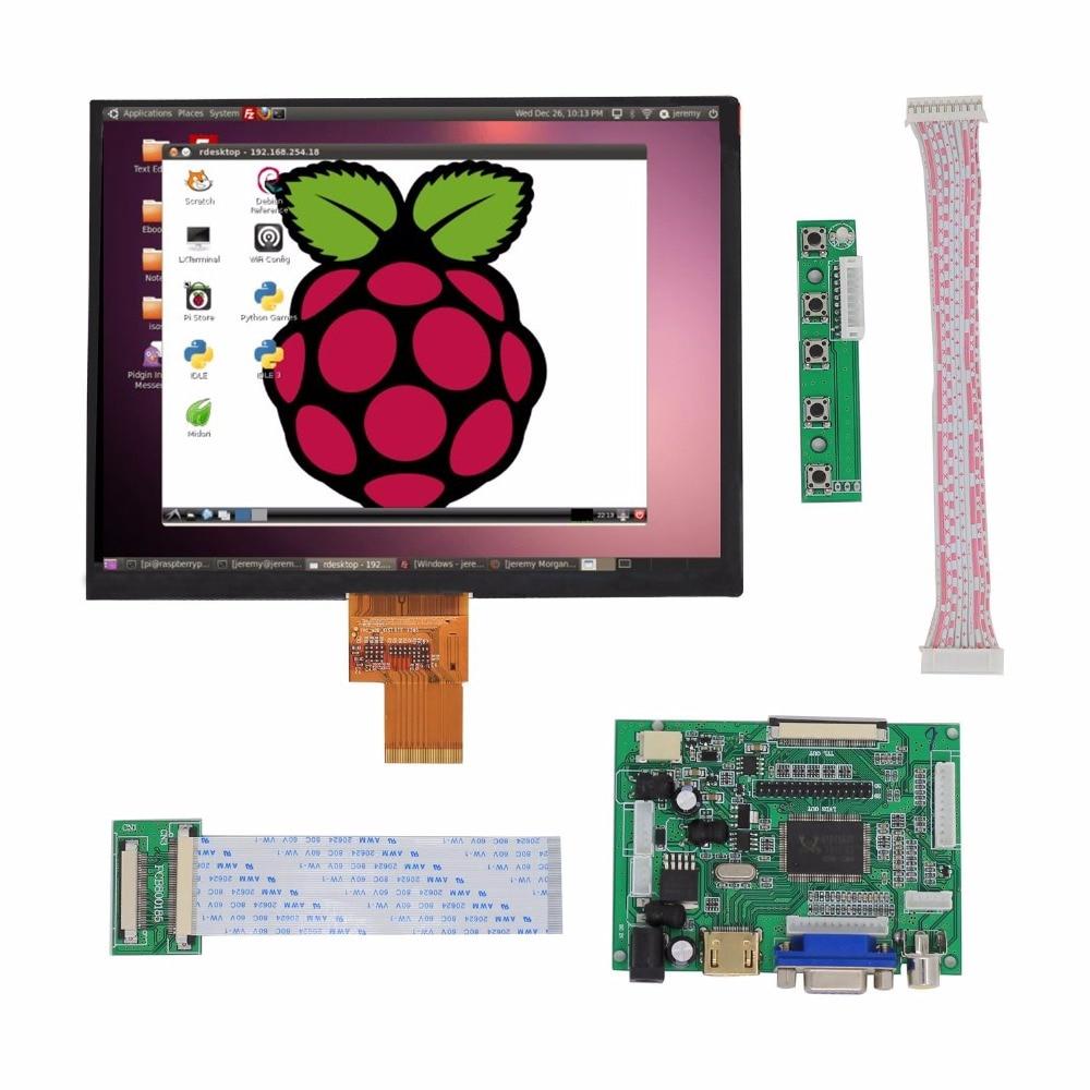 8inch LCD Display Screen High Resolution Monitor Remote Control Driver Board 2AV HDMI VGA For Raspberry Pi Orange Pi PC
