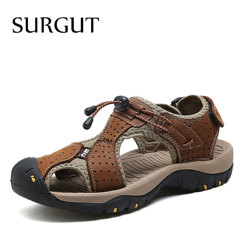 все цены на SURGUT Men Sandals Genuine Leather Cowhide Male Summer Shoes Quality Beach Slippers Casual Leather Gladiator Sandals Size 38-44 онлайн