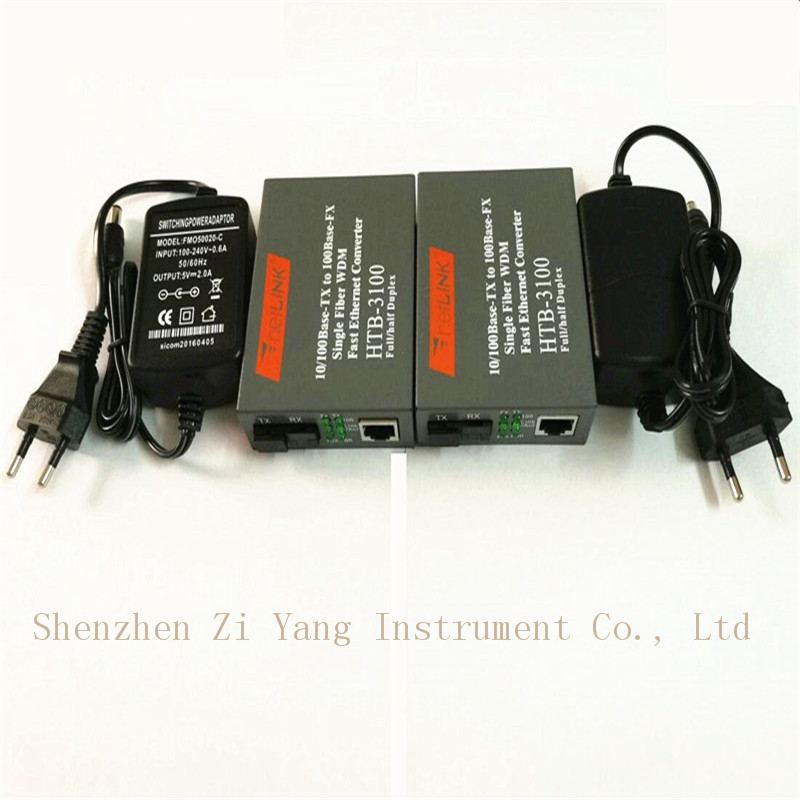 5pair Htb-3100ab Optical Fiber Media Converter Fiber Transceiver Single Fiber Converter 25km SC 10/100M Singlemode Single Fiber