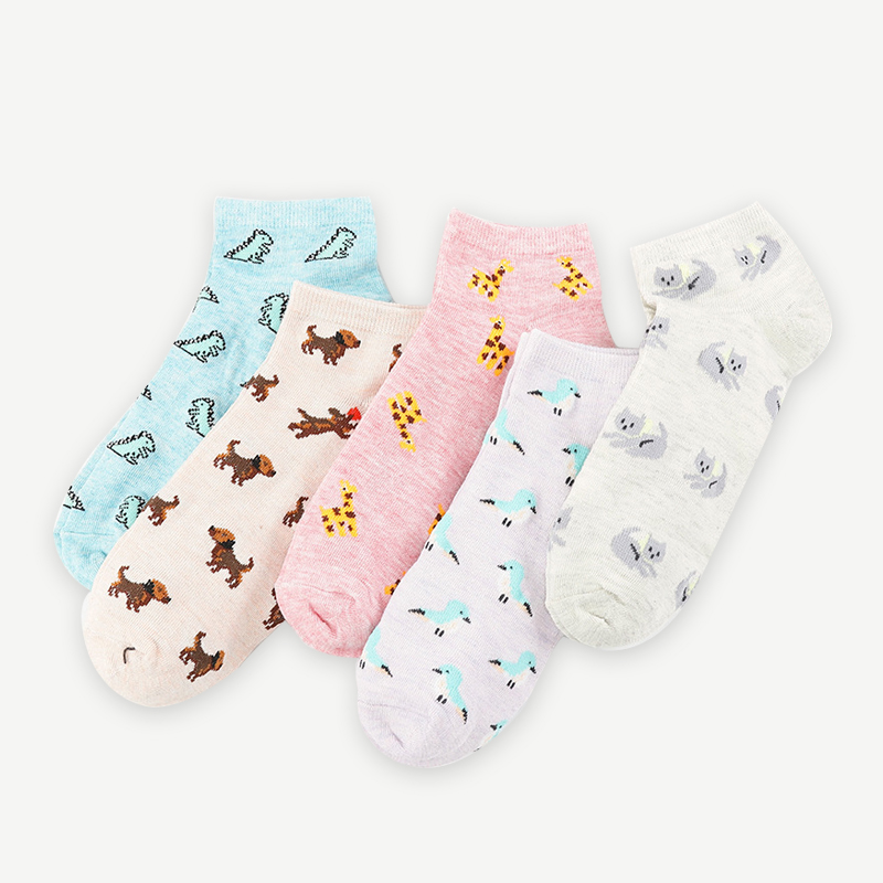 Women's Socks Shallow Mouth Cartoon Socks Cute Cotton White Socks Low To Help Thin Section Korean Version Of The College Wind