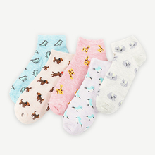 Womens socks shallow mouth cartoon cute cotton white low to help thin section Korean version of the college wind