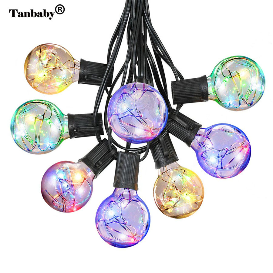 220V 5.5M G40 Globe Bulb Copper Wire Retro LED String Lights Lamp Fairy Lights For New Year Party Christmas Party Decoration