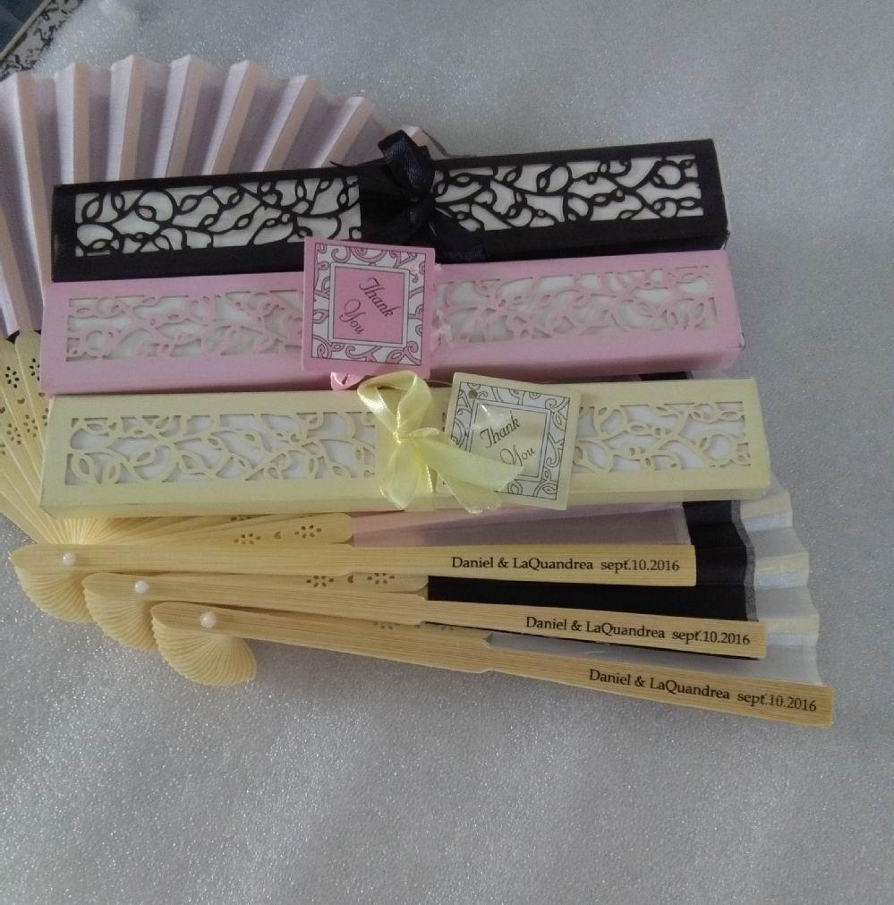 300pcs lot Personalized Luxurious Silk Fold hand Fan in Elegant Laser Cut Gift Box Party Favors