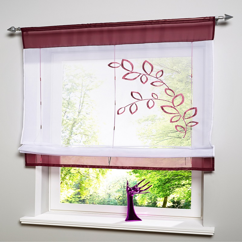Curtain For Balcony: Embroidered Kitchen Curtains Grass Roman Curtain Sheer