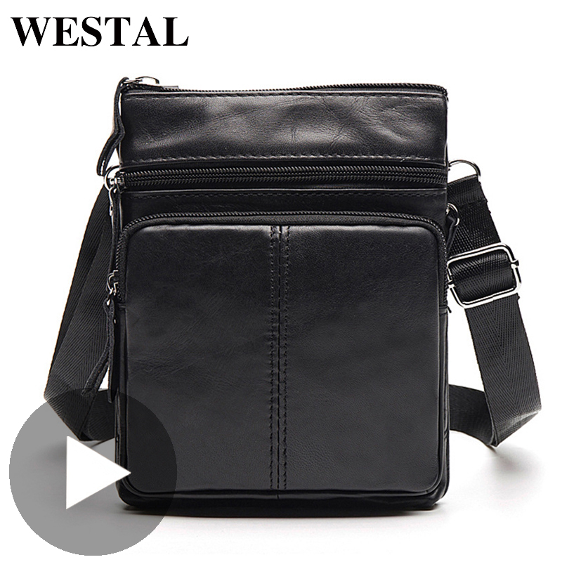 Westal Shoulder Work Business Messenger Office Women Men Bag Genuine Leather Briefcase For Handbag Male Female Small Portable
