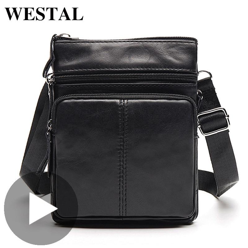 Westal Shoulder Work Business Messenger Office Women Men Bag Genuine Leather Briefcase For Handbag Male Female Small Portable