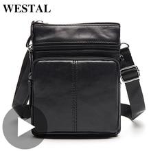 Westal épaule travail affaires messager bureau femmes hommes sac véritable mallette en cuir pour sac à main mâle femme petit Portable
