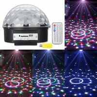 POTENCO 25W 220V Music Crystal Magic Ball RGB LED Lights Stage Lighting For Nightclub Laser Projector