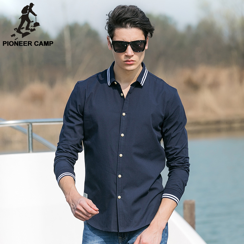 Pioneer Camp 2017 Autumn Solid Oxford Shirt Men Dark Blue