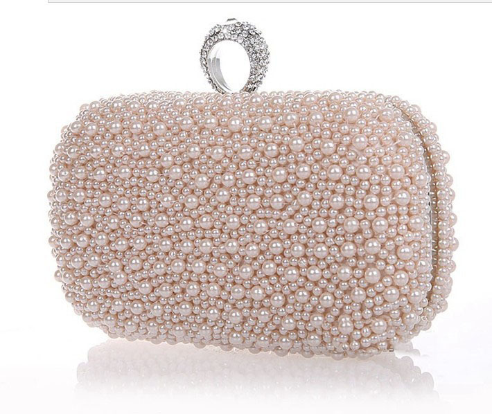 2014 Promotie Solid Bag Mini (<20cm) Slottas met binnenvak Hasp Women Hot Selling Pearl met Diamond Finger Cluth Evening Bag