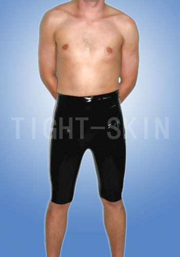 Rubber trousers latex shorts for men with 2 way crotch zippers half length pants