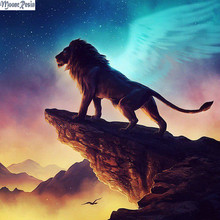 MOONCRESIN 5D Diamond Mosaic Male Lions Look Pattern Sticker Full Square 3D Embroidery Flower Diy Painting Kits