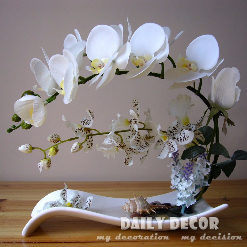 High simulation handmade ikebana artificial orchid <font><b>flowers</b></font> arrangements real touch latex orchid floriculture pot culture suits