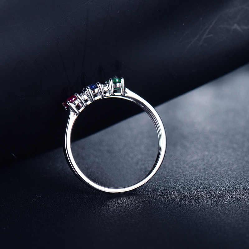 แหวน 14K สีขาวทองสามอัญมณี Sapphire Emerald ทับทิมเพชรงานแต่งงานแบบคลาสสิกวงแหวนสต็อก