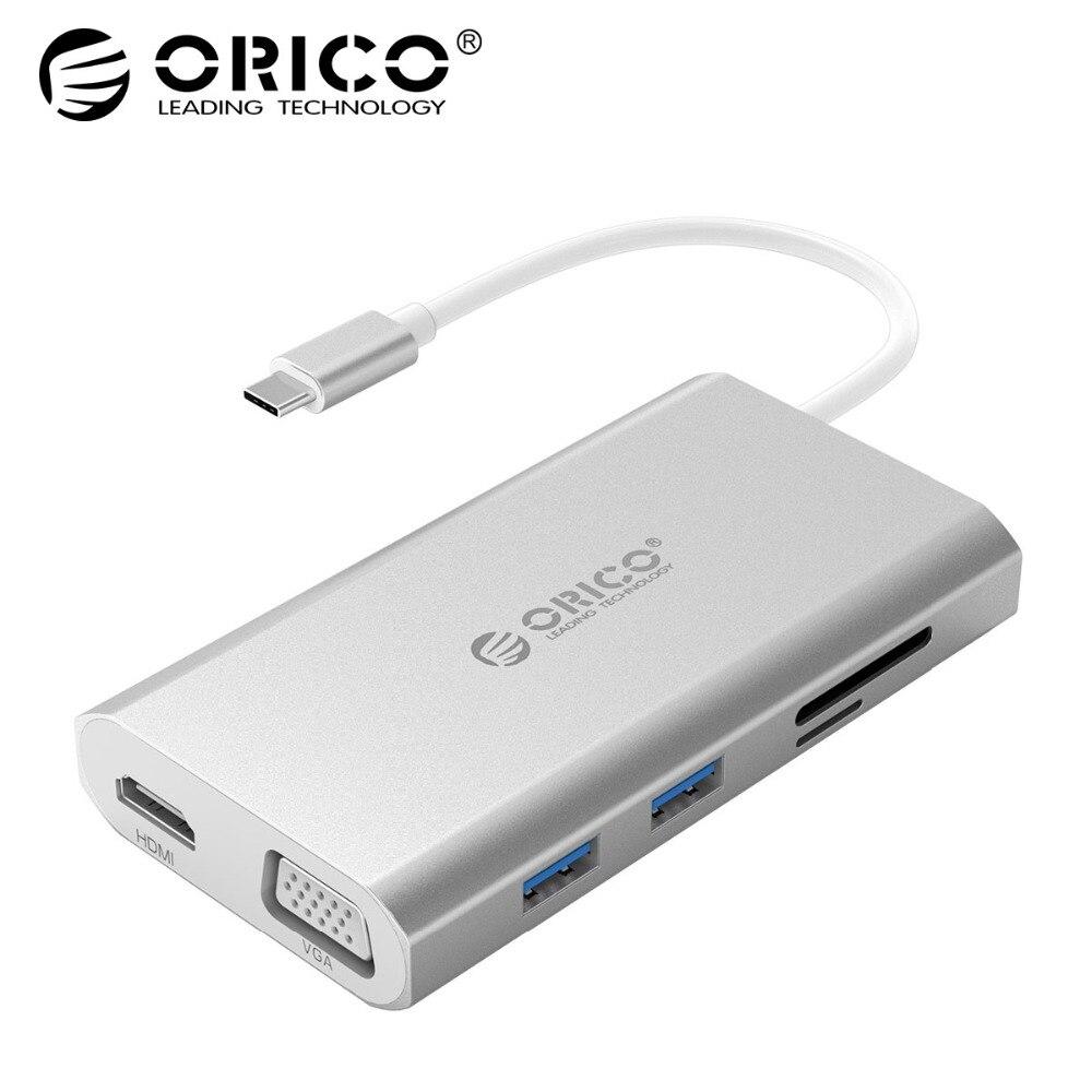 ORICO Type-C Aluminum Hub Laptop Dock Type-C to VGA HDMI RJ45 Ethernet Adapter