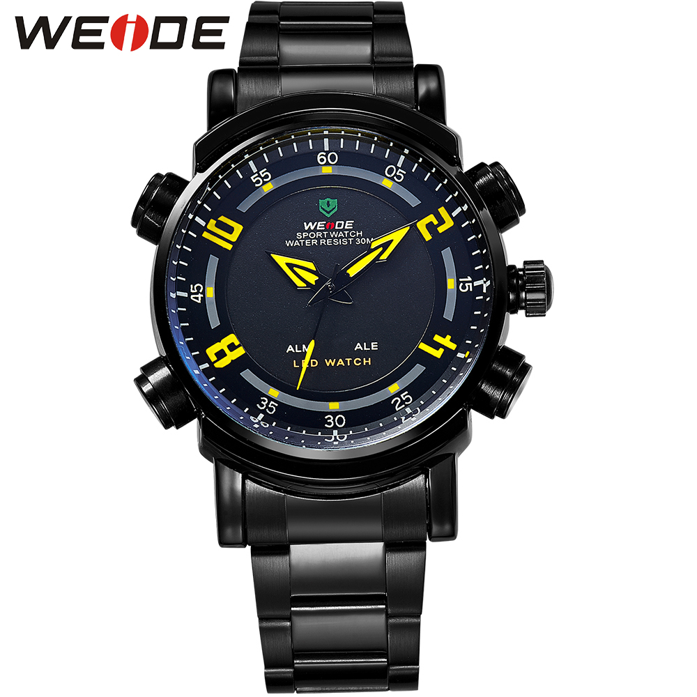 WEIDE Outdoor Wrist Watch Analog Digital LED Quartz Dual Movement Stainless Steel Band Waterproof Sports Running Watches For Men weide irregular analog led digital watch men quartz dual movement stainless steel bracelet mens waterproof military watches