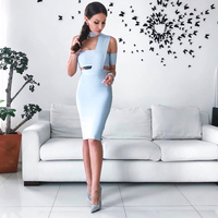 2018 New Bandage Women Dress Sexy Club O Neck Dress Elastic Short Sleeve Celebrity Evening Party Hollow Out Summer Mini Dress