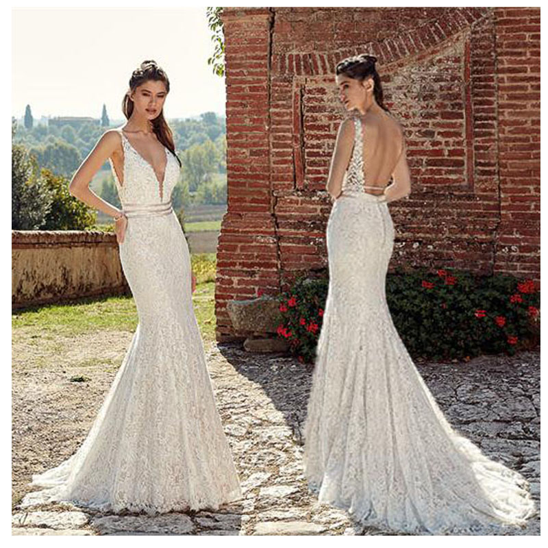 2019 Mermaid/Trumpet Wedding Dresses Sexy Lace Bride Dresses Appliques V Neck Floor Length Wedding Dress Ball Gowns